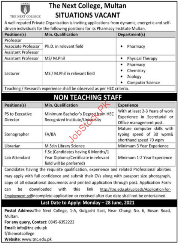 The Next College Multan Jobs