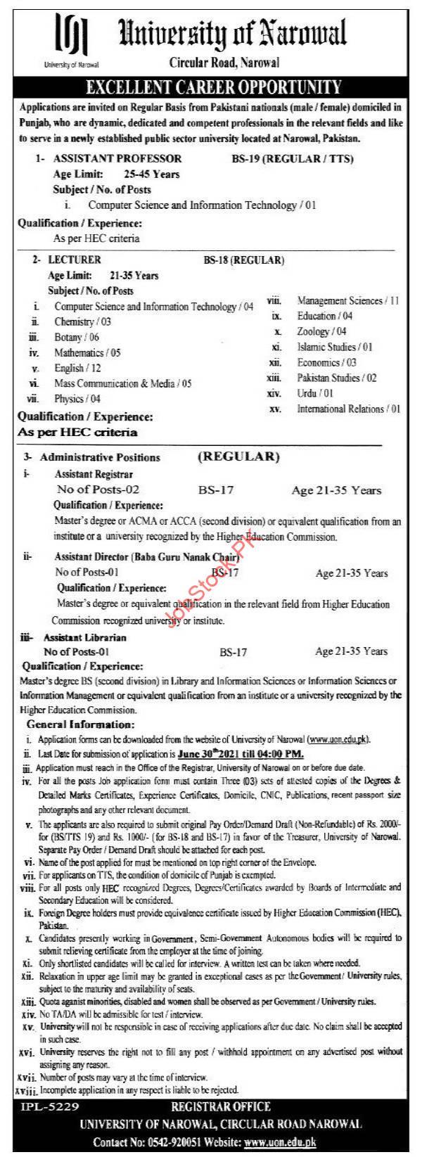 University Of Narowal Jobs May June 2021 Advertisement Download