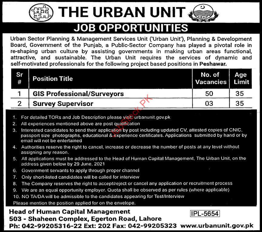 Urban Unit Job Advertisement