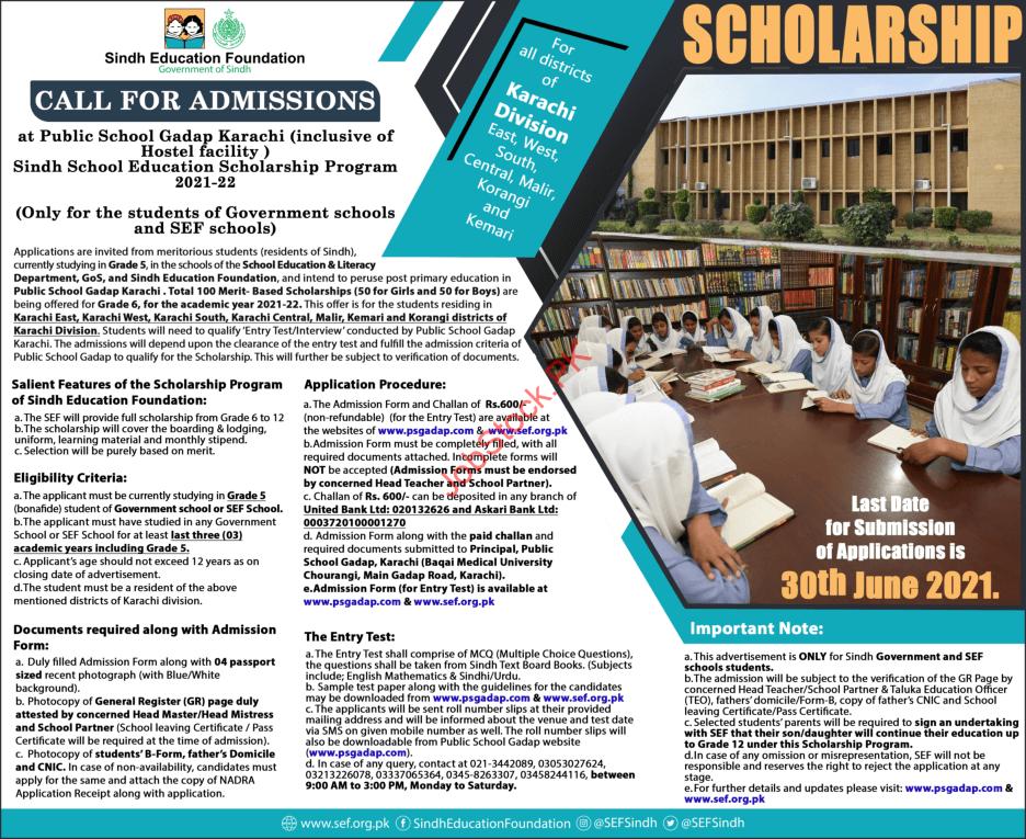 Www.sef.org.pk Scholarship 2021