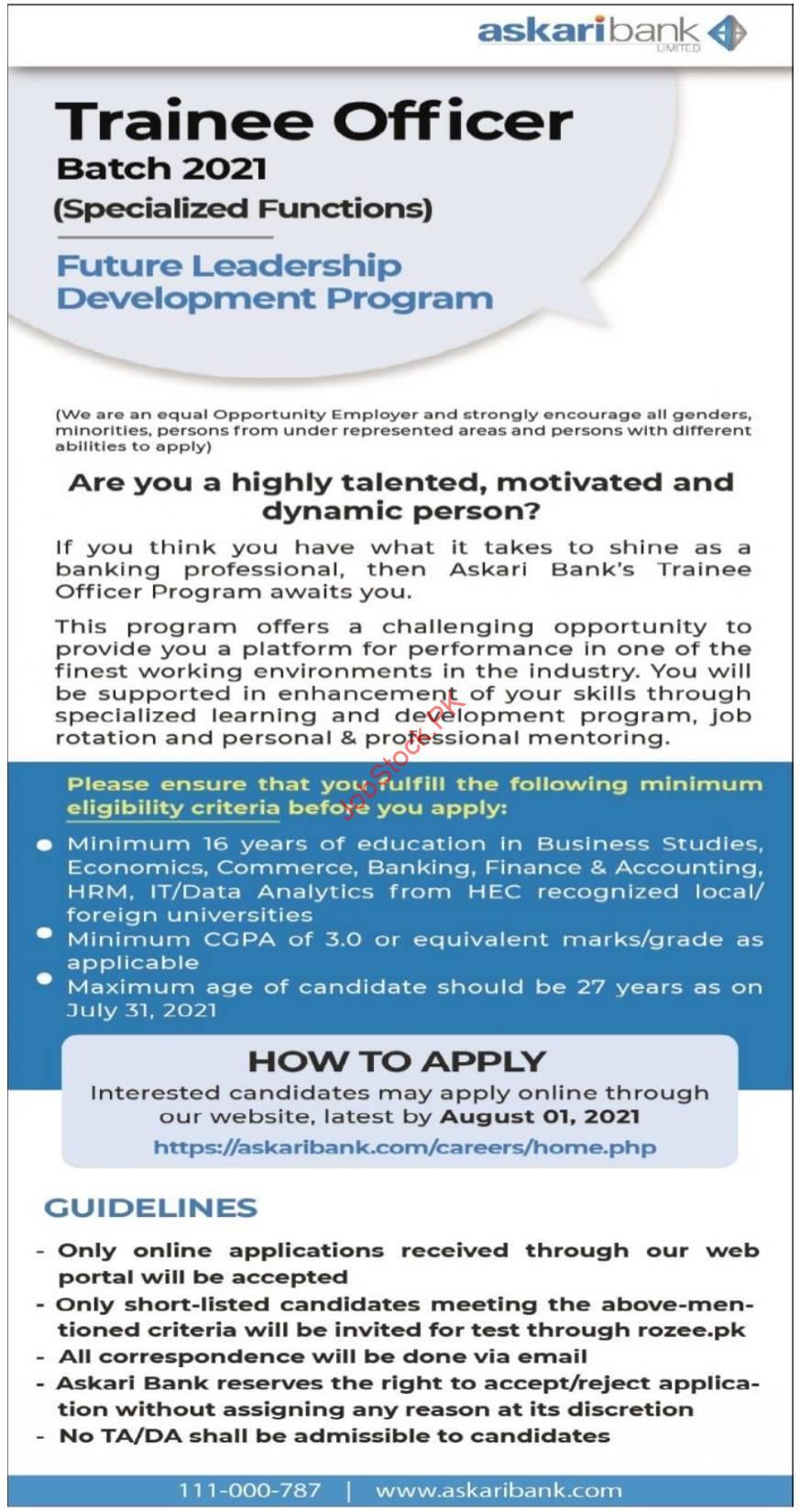 Askari Bank Jobs Advertisement