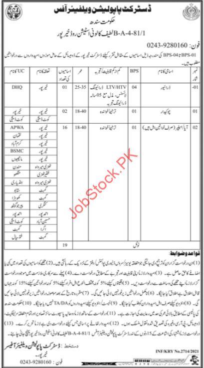 District Population Welfare Office Khairpur Sindh Jobs 2021