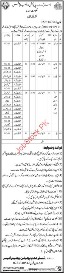 District Population Welfare Office Tanndo Muhammad Khan Jobs 2021 Latest