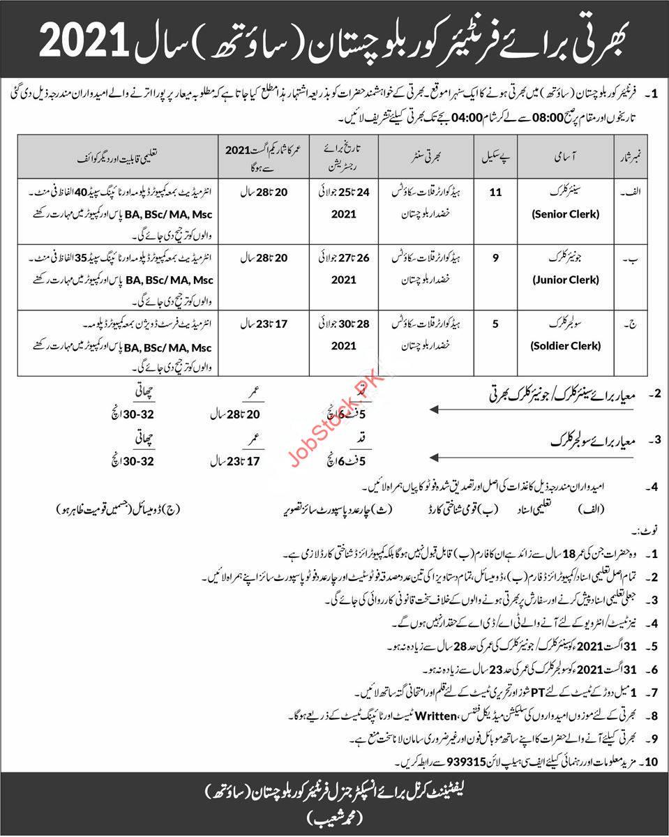 Fc Jobs 2021 Balochistan Advertisement Latest