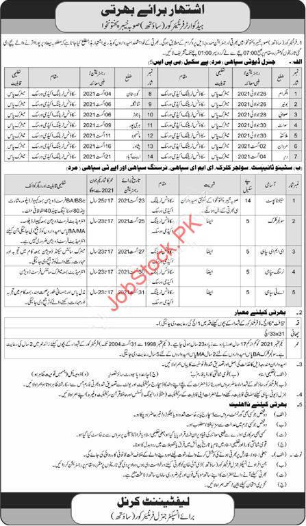 Fc Jobs 2021 Kpk Peshawar Advertisement Latest