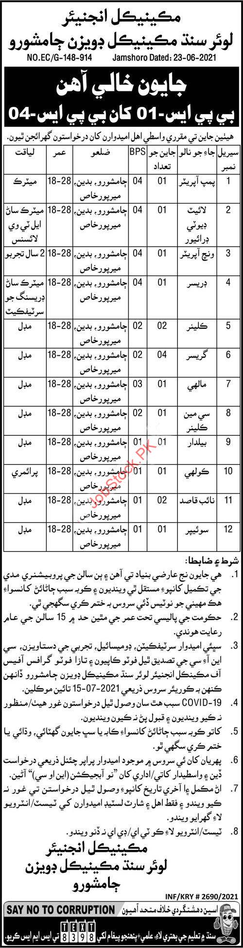 Government Jobs In Jamshoro Lower Sindh Mechanical Division 2021 July Latest