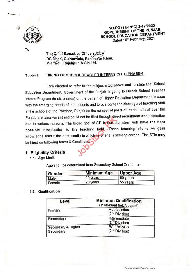 Otrs Punjab 2021 Apply Online Application Online Teacher Recruitment System 1