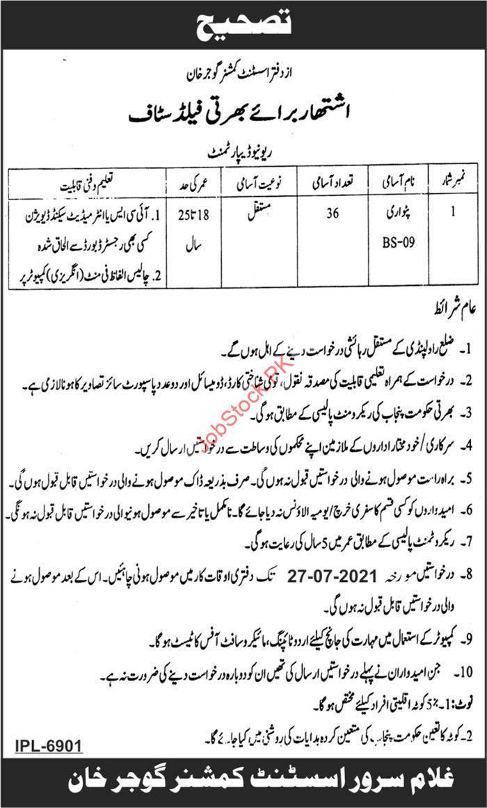 Patwari Jobs 2021 In Gujar Khan Revenue Department Assistant Commissioner Office