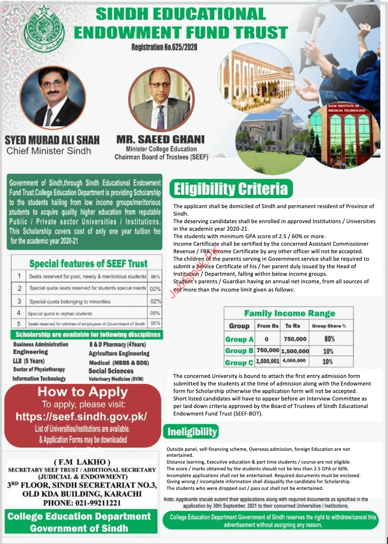 Sindh Endowment Fund Scholarship 2021 Advertisement
