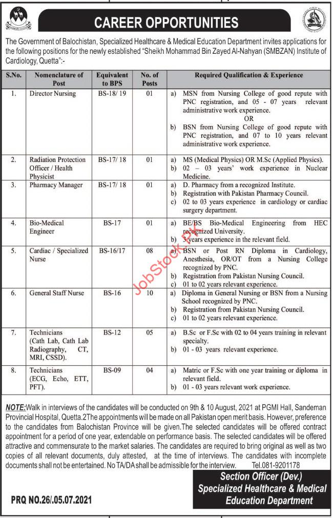 Specialized Healthcare & Medical Education Department Jobs 2021 July Latest
