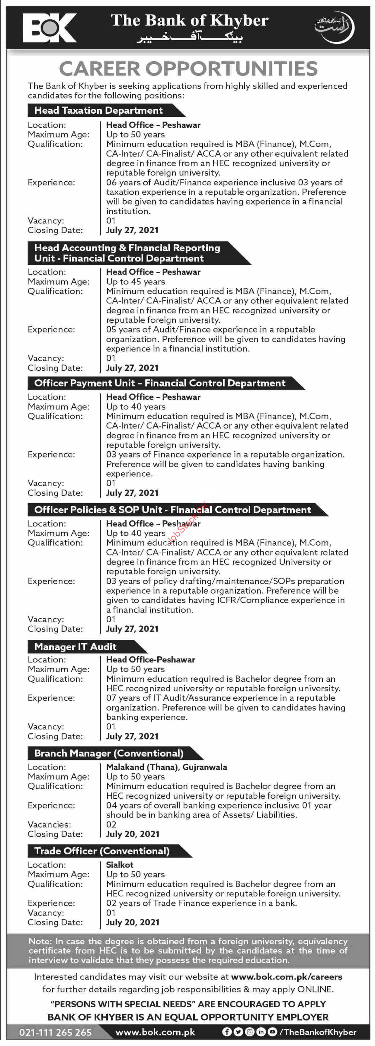The Bank Of Khyber Bok Jobs 2021 July Latest