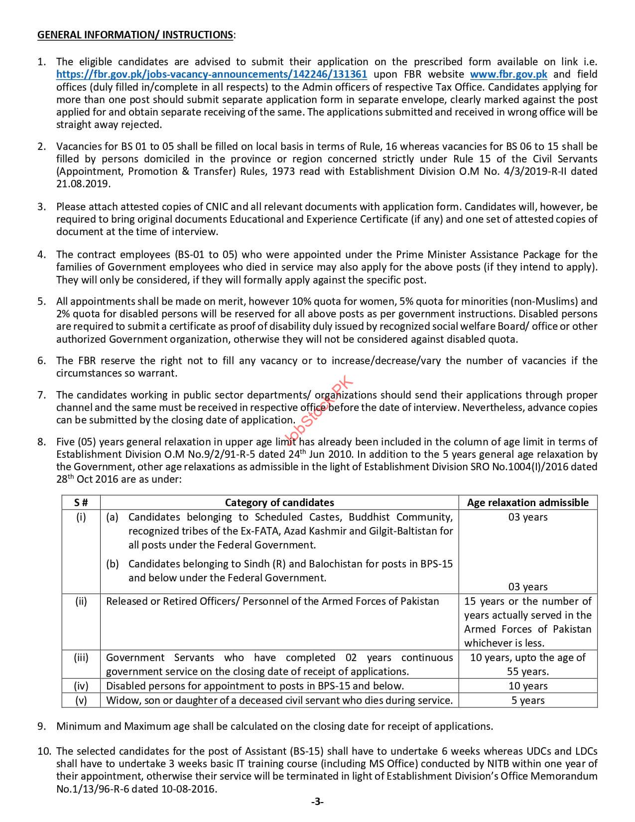 FBR Jobs Advertisement 2021 Page 3