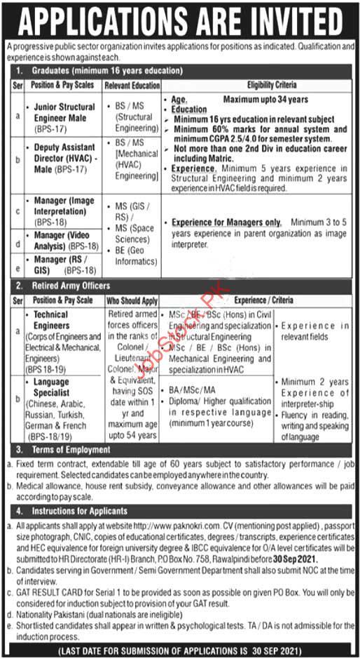 Atomic Energy Public Sector Organization Rawalpindi Paec Jobs 2021 September Latest