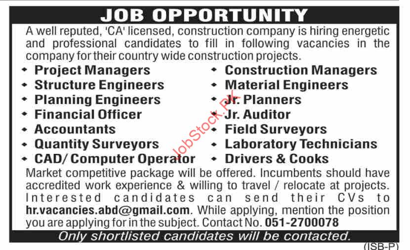 Construction Company Jobs 2021 September Latest