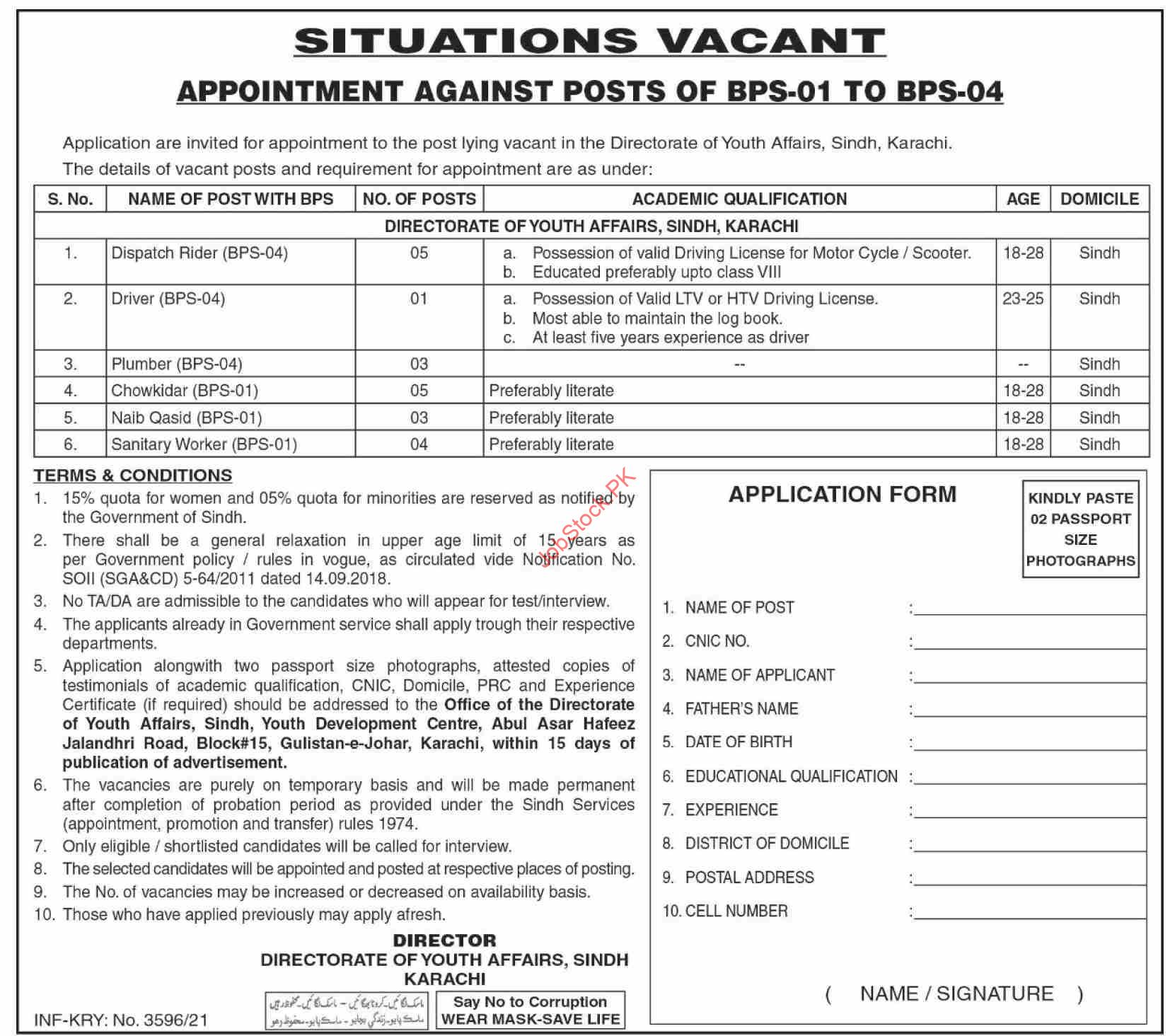 Directorate Of Youth Affairs Sindh Karachi 2021 Advertisement Government Jobs In Sindh For Intermediate