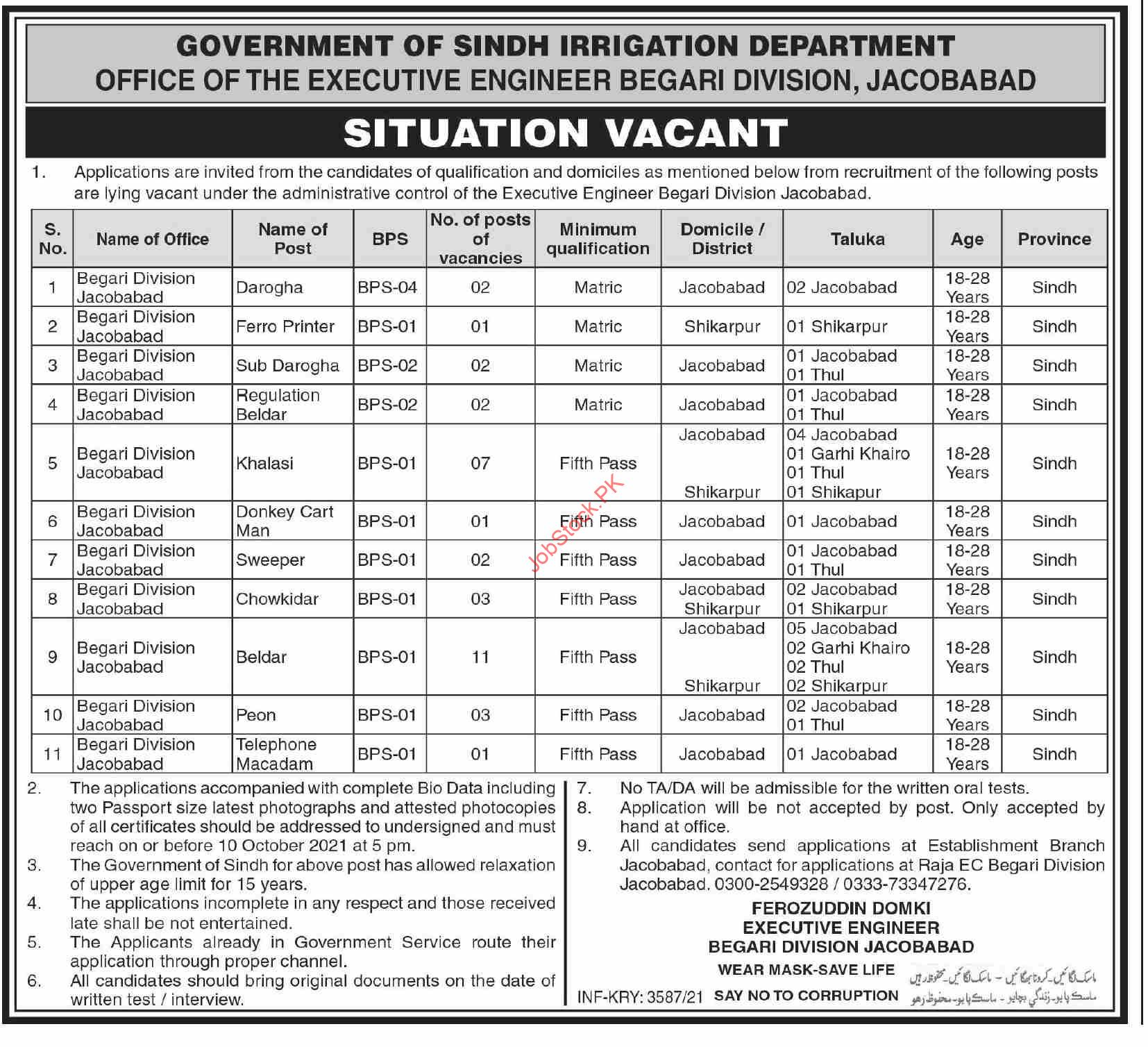 Irrigation Department Office Of The Executive Engineer Begari Division Jacobabad Jobs 2021 September Latest