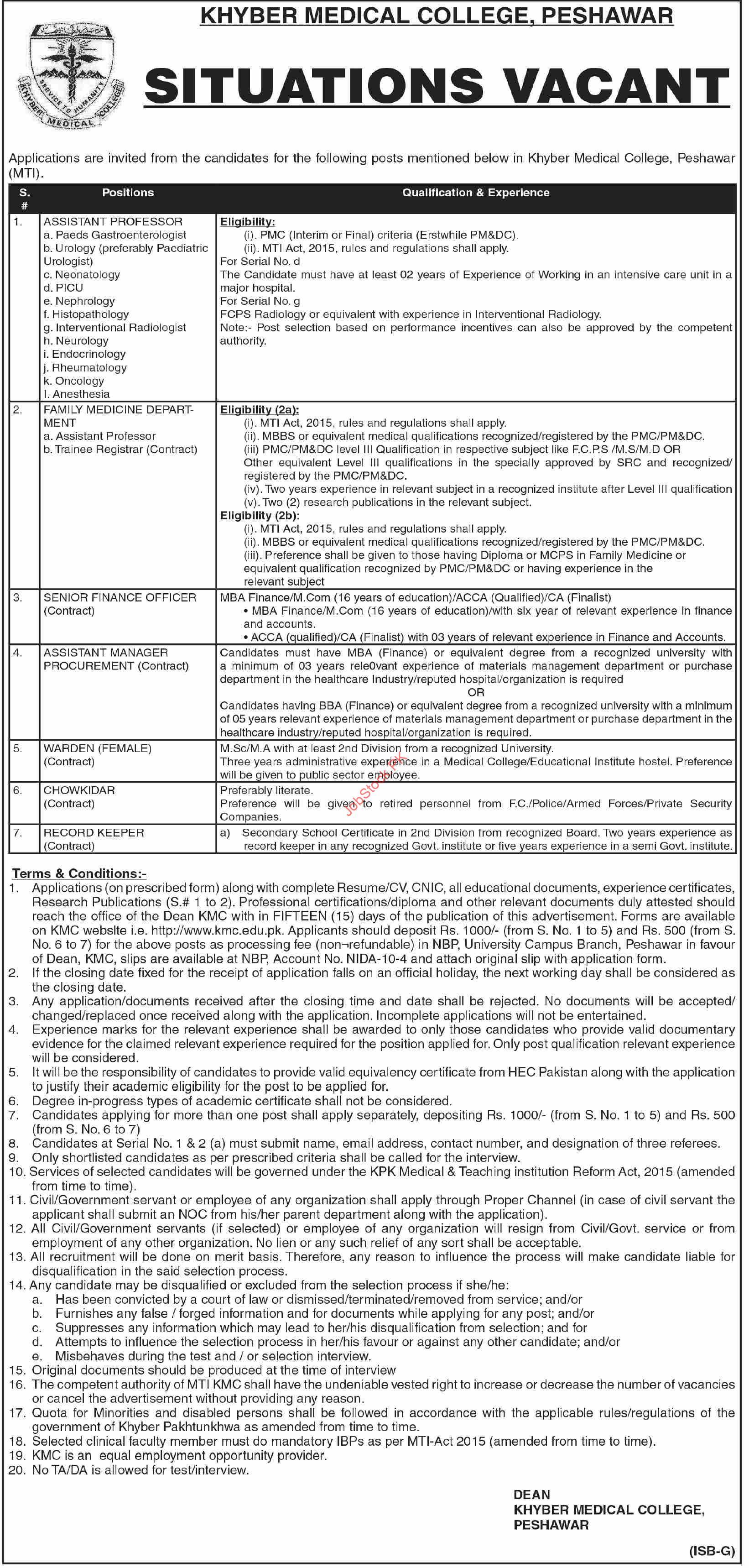 Kmc Peshawar Jobs 2021 September