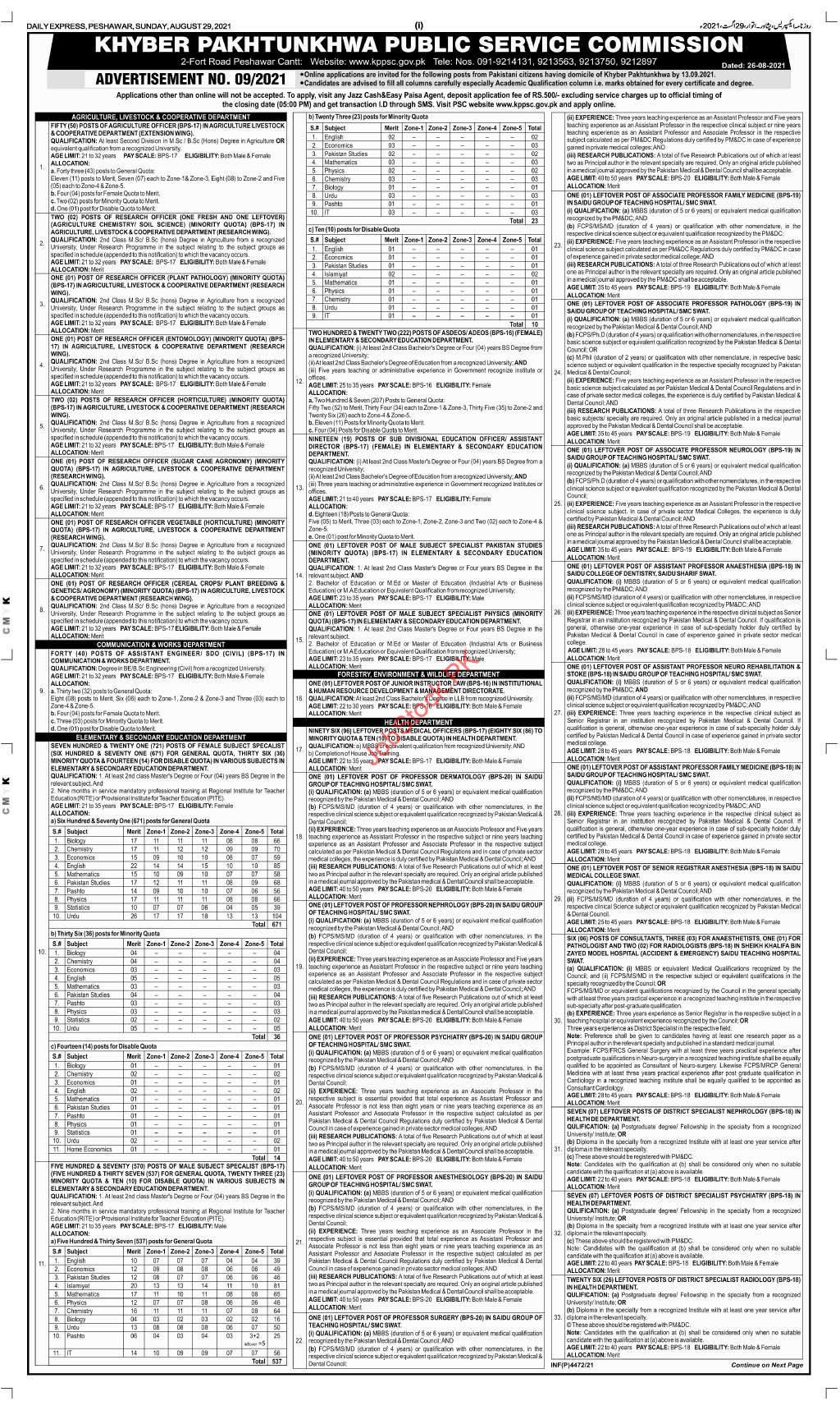 KPK Public Service Commission Jobs 2021 Advertisement Page 01