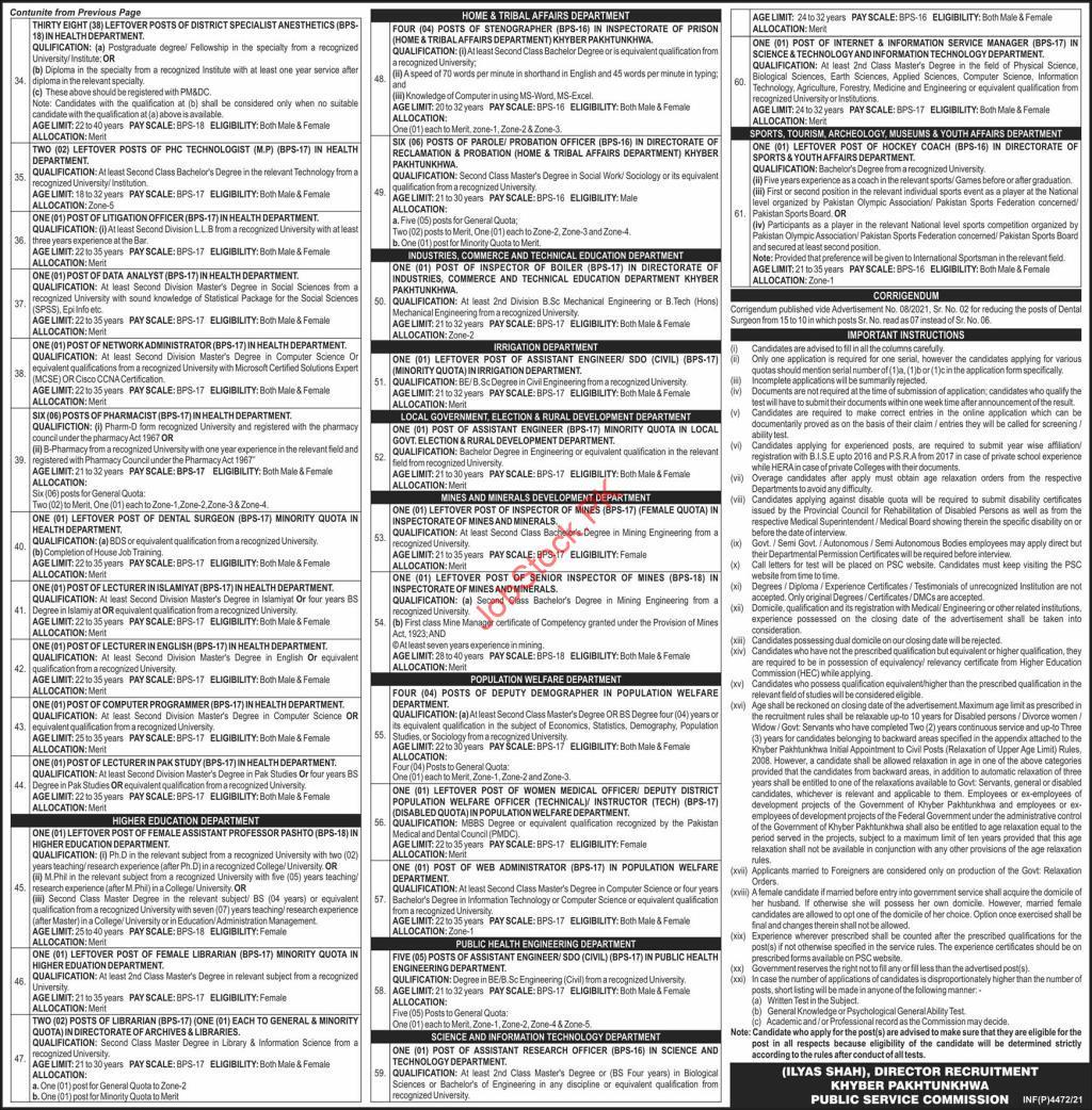 KPK Public Service Commission Jobs 2021 Advertisement Page 02