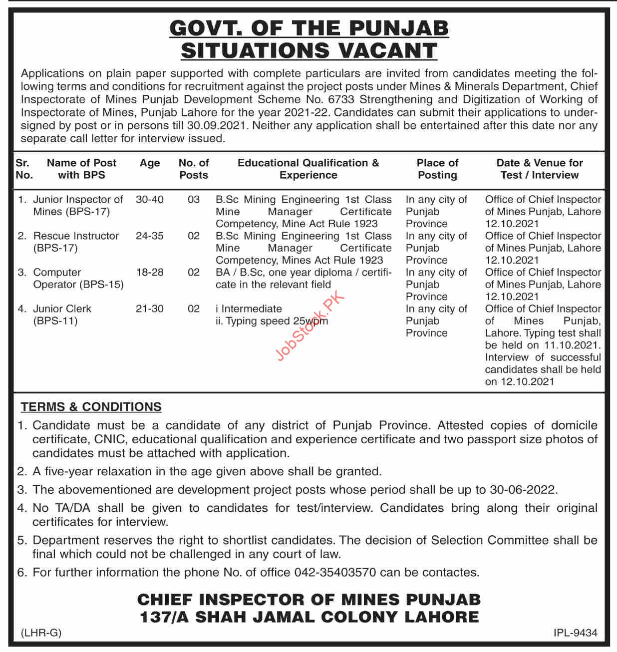 Mined And Minerals Department Punjab Jobs 2021 September Latest