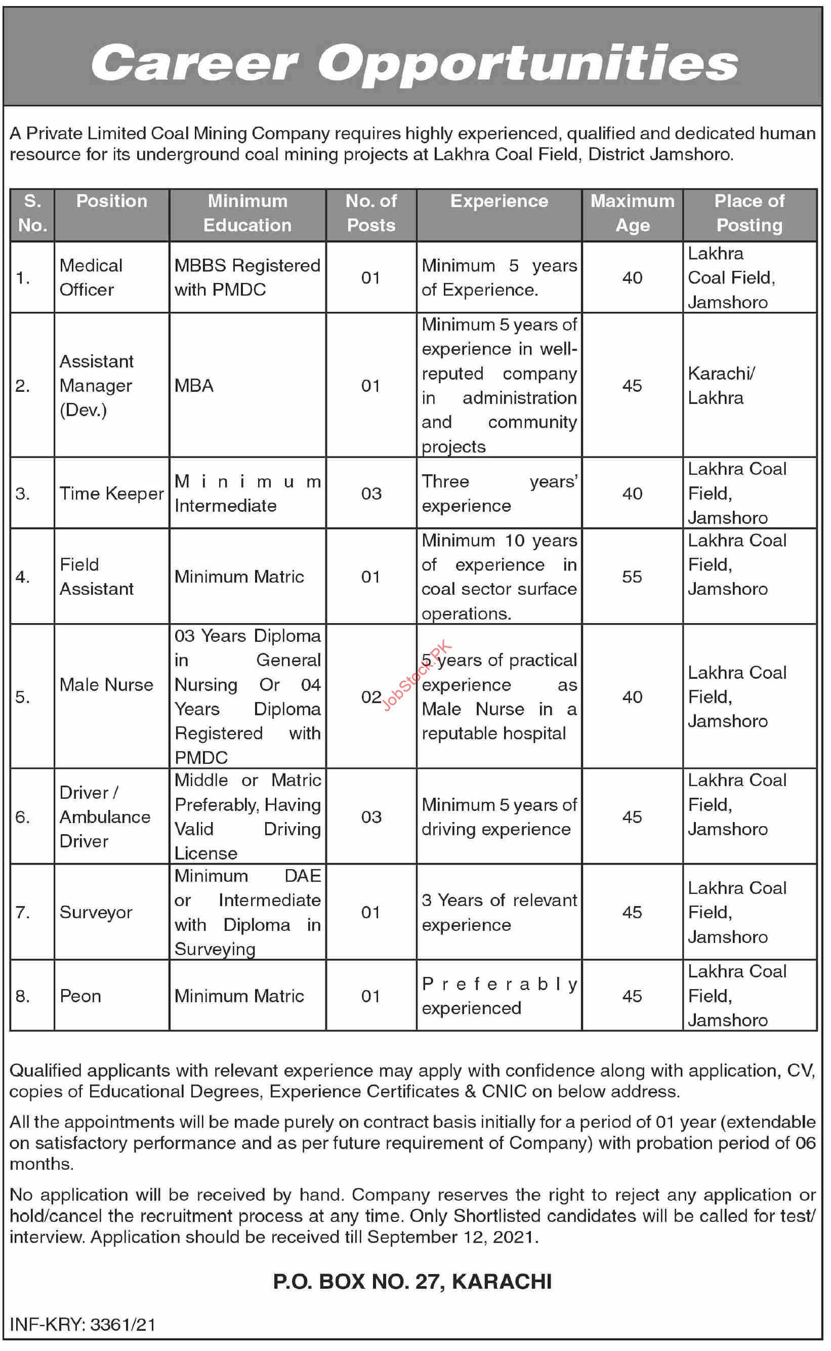 Private Limited Coal Mining Company Larkana Jobs 2021 September Latest