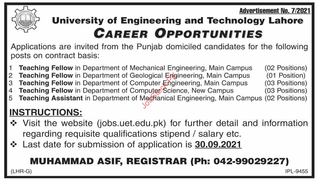 Teaching Faculty Jobs In University Of Engineering And Technology Lahore 2021 September Latest