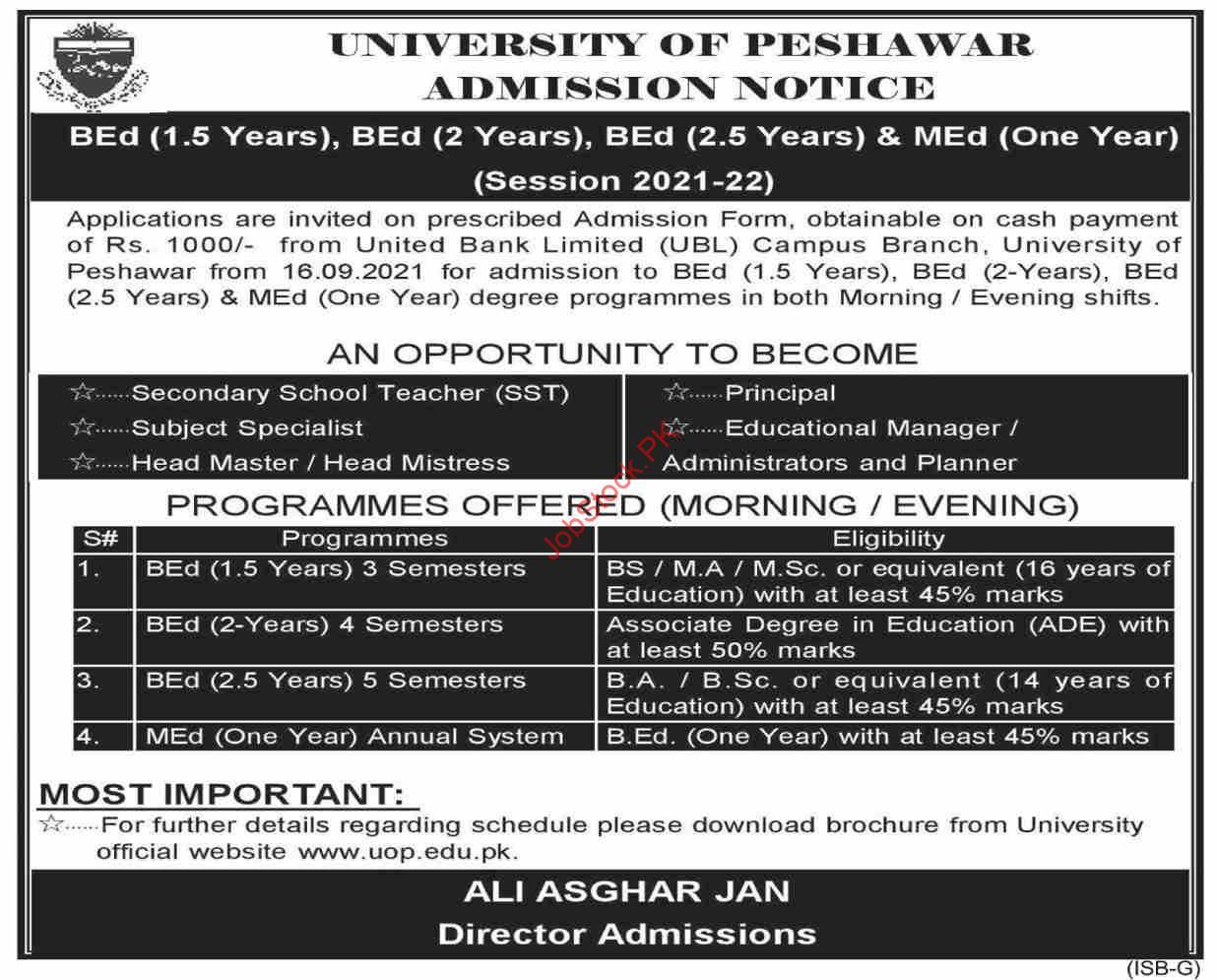 University Of Peshawar Admission & Jobs 2021 Latest