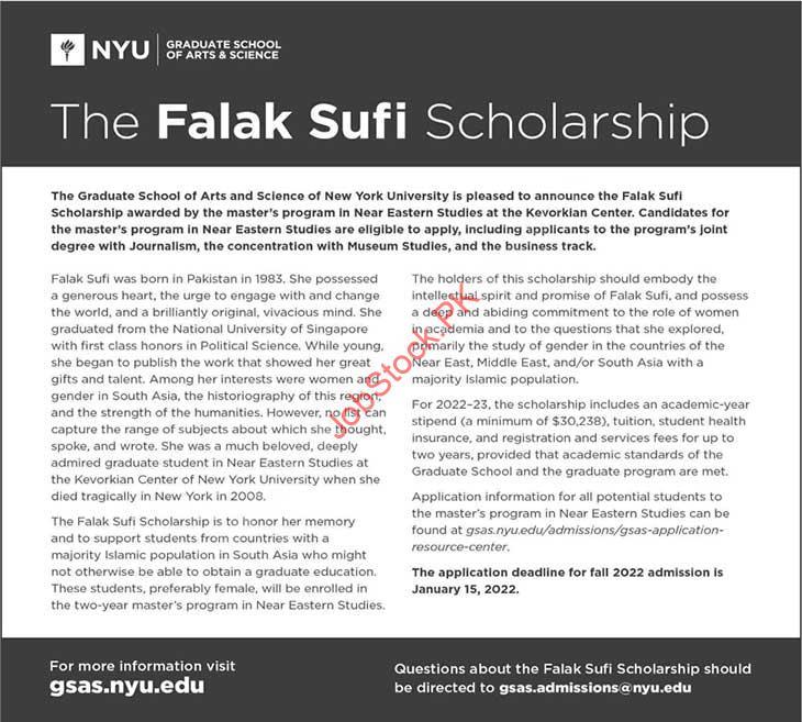 Falak Sufi Scholarship Master 2021 New York University