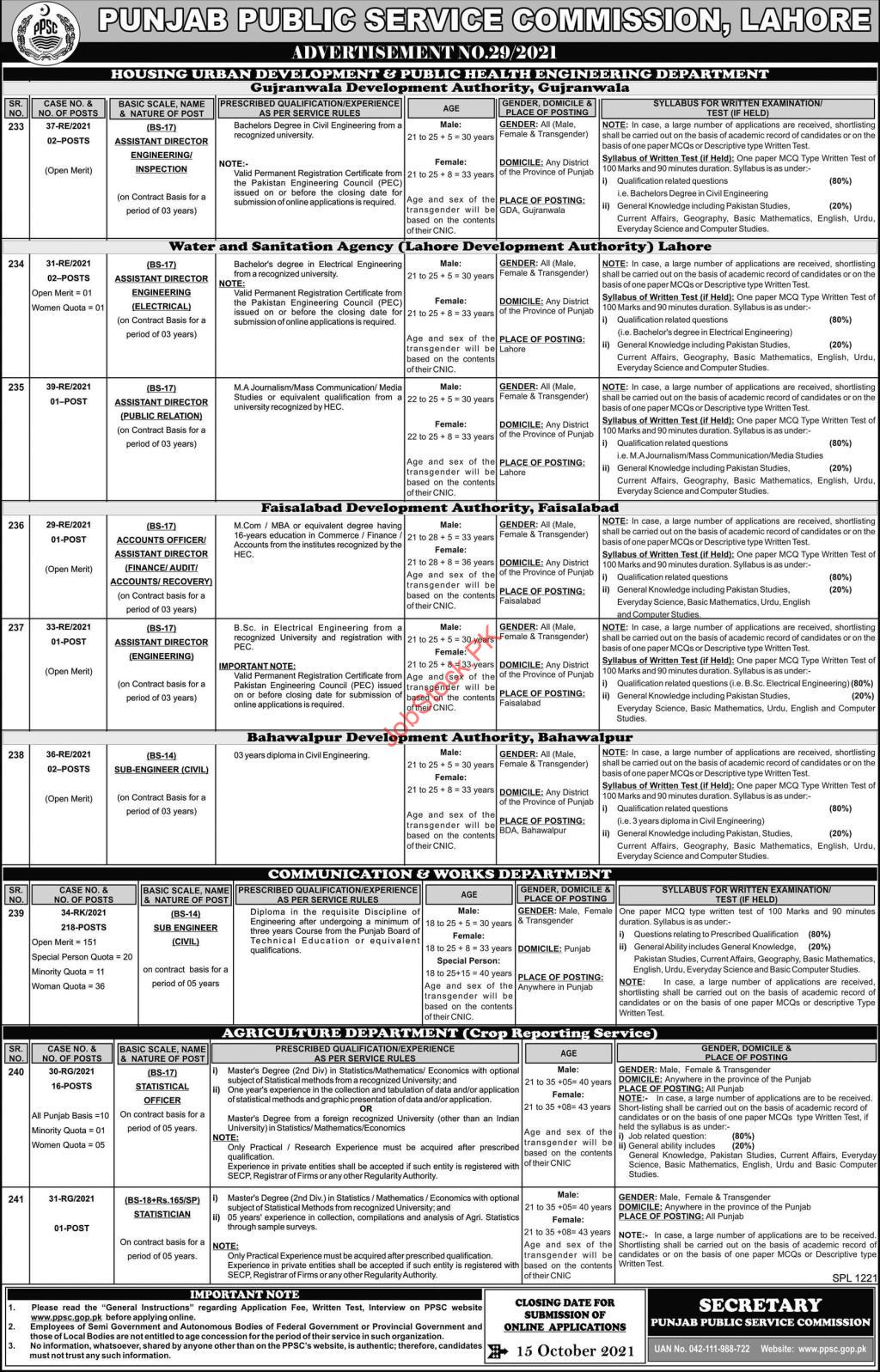 ppsc jobs advertisement 29 2021