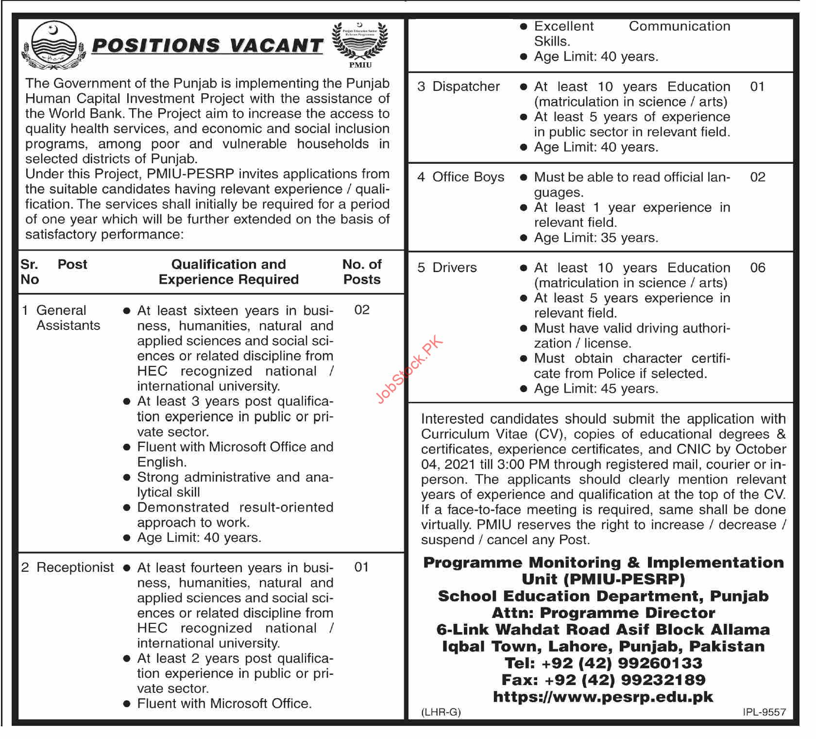Punjab School Education Department Pmiu Jobs 2021 Application Form