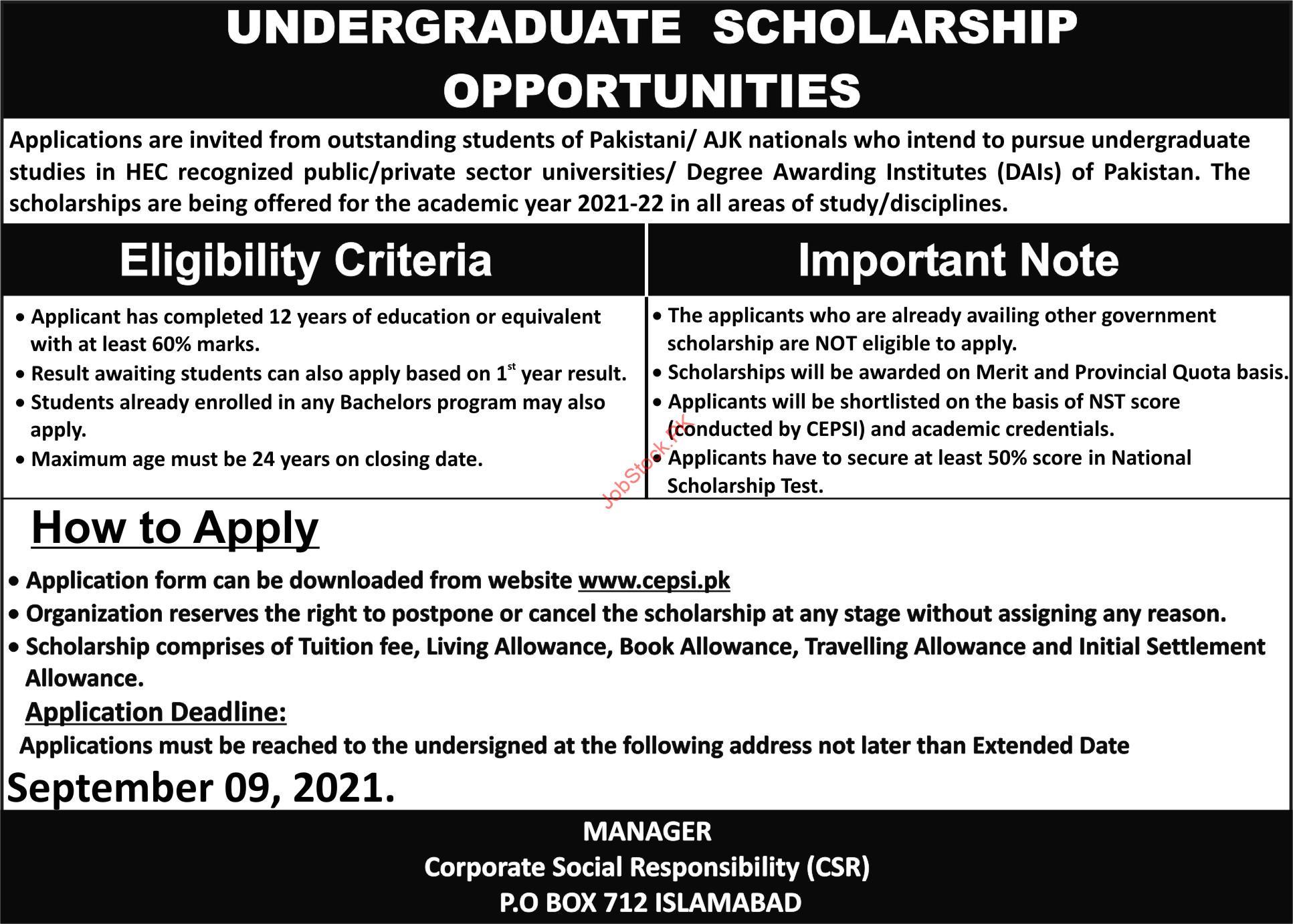 Www.cepsi.pk Scholarship September 2021 Advertisement