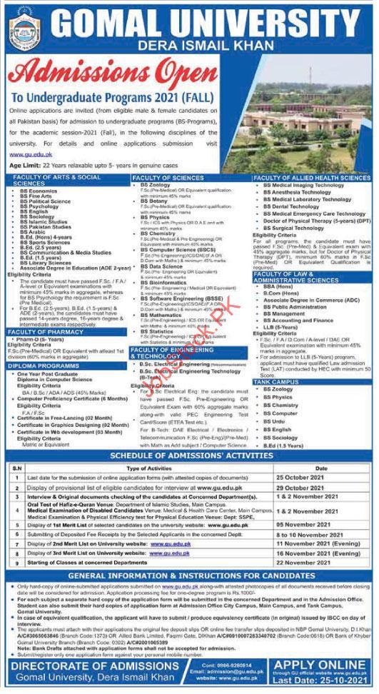 Gomal University Admission 2021 Advertisement October D.I Khan