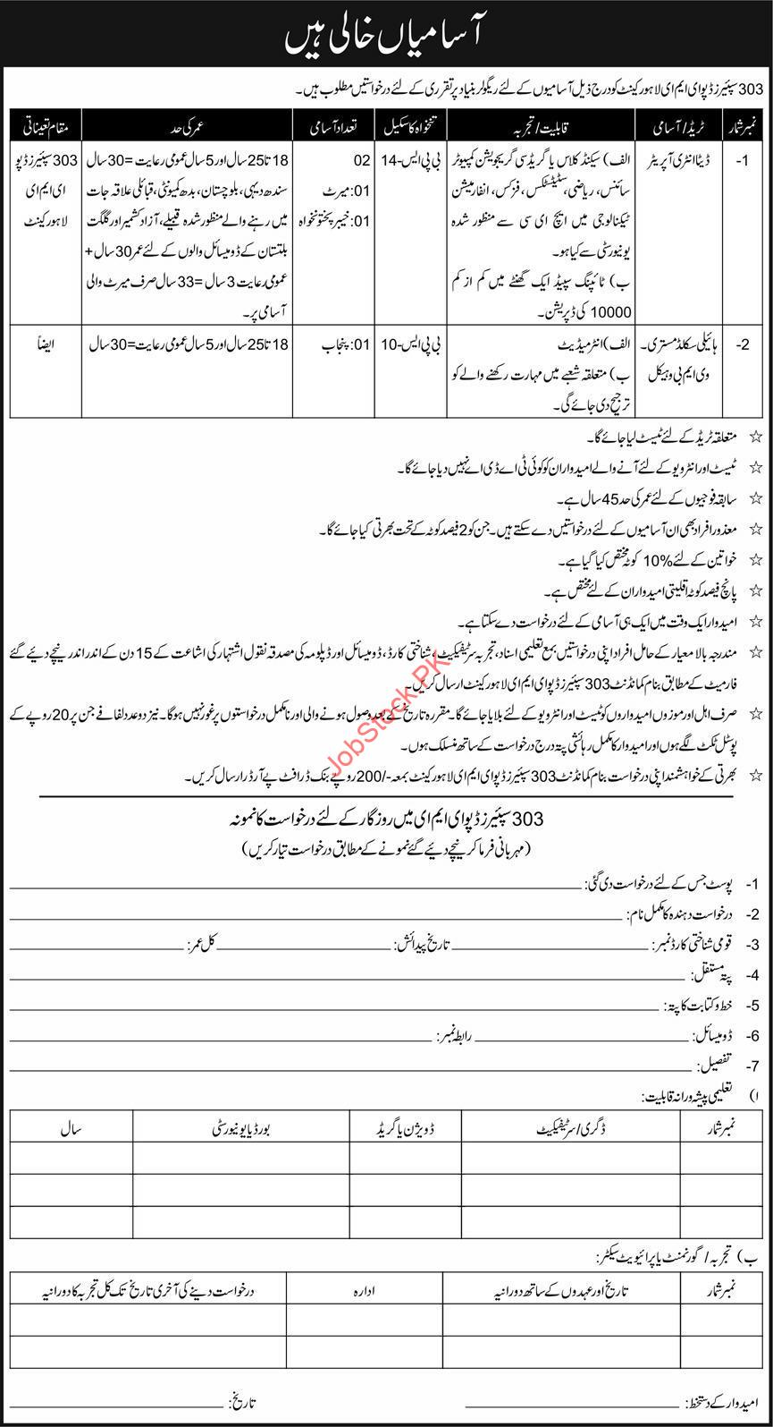 303 Spares Depot EME ahore Cantt Jobs 2021 Data Entry in Pakistan Army