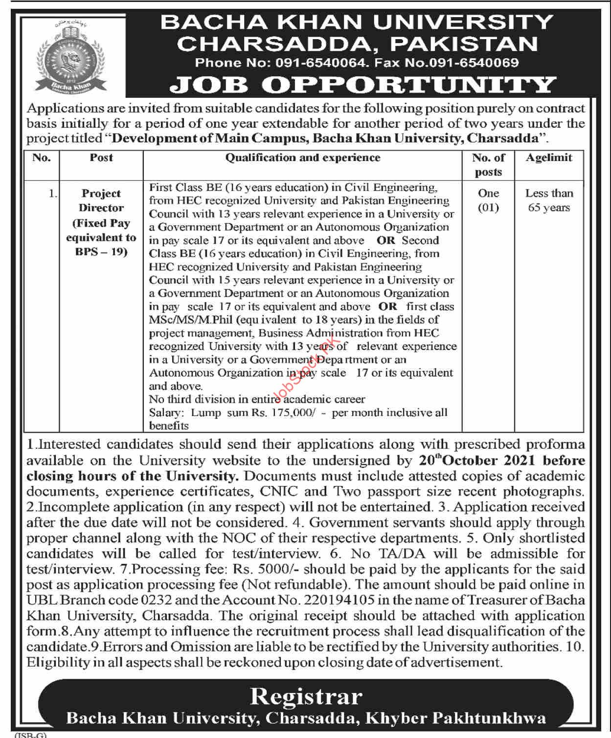 Bacha Khan University Charsadda Pakistan Jobs 2021