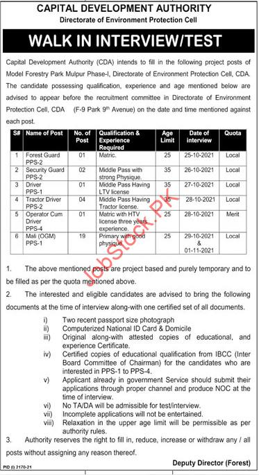 CDA Jobs Advertisement 2021 Capital Development Authority