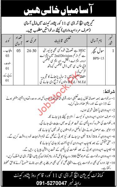Garrison HRDC jobs 2021 Latest 11 Corps Peshawar