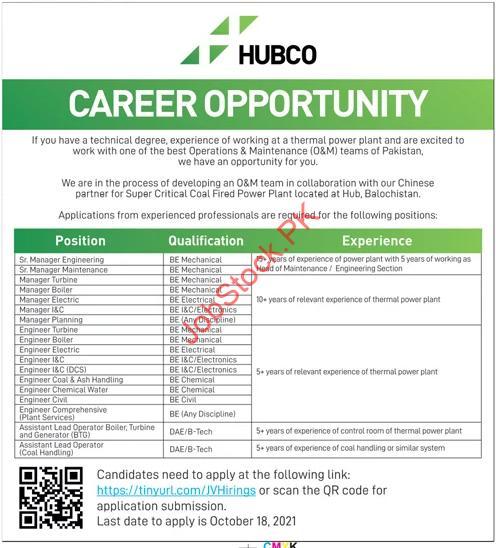 Hub Power Company HUBCO Jobs 2021