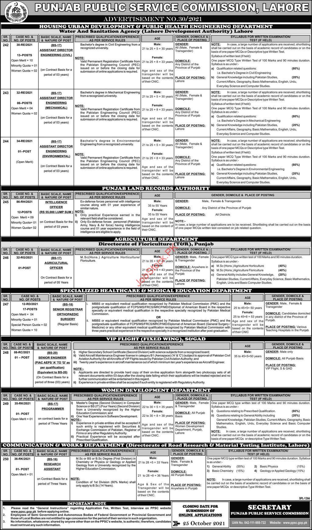 PPSC Jobs 2021 Latest Advertisement No.30.2021 Apply Online