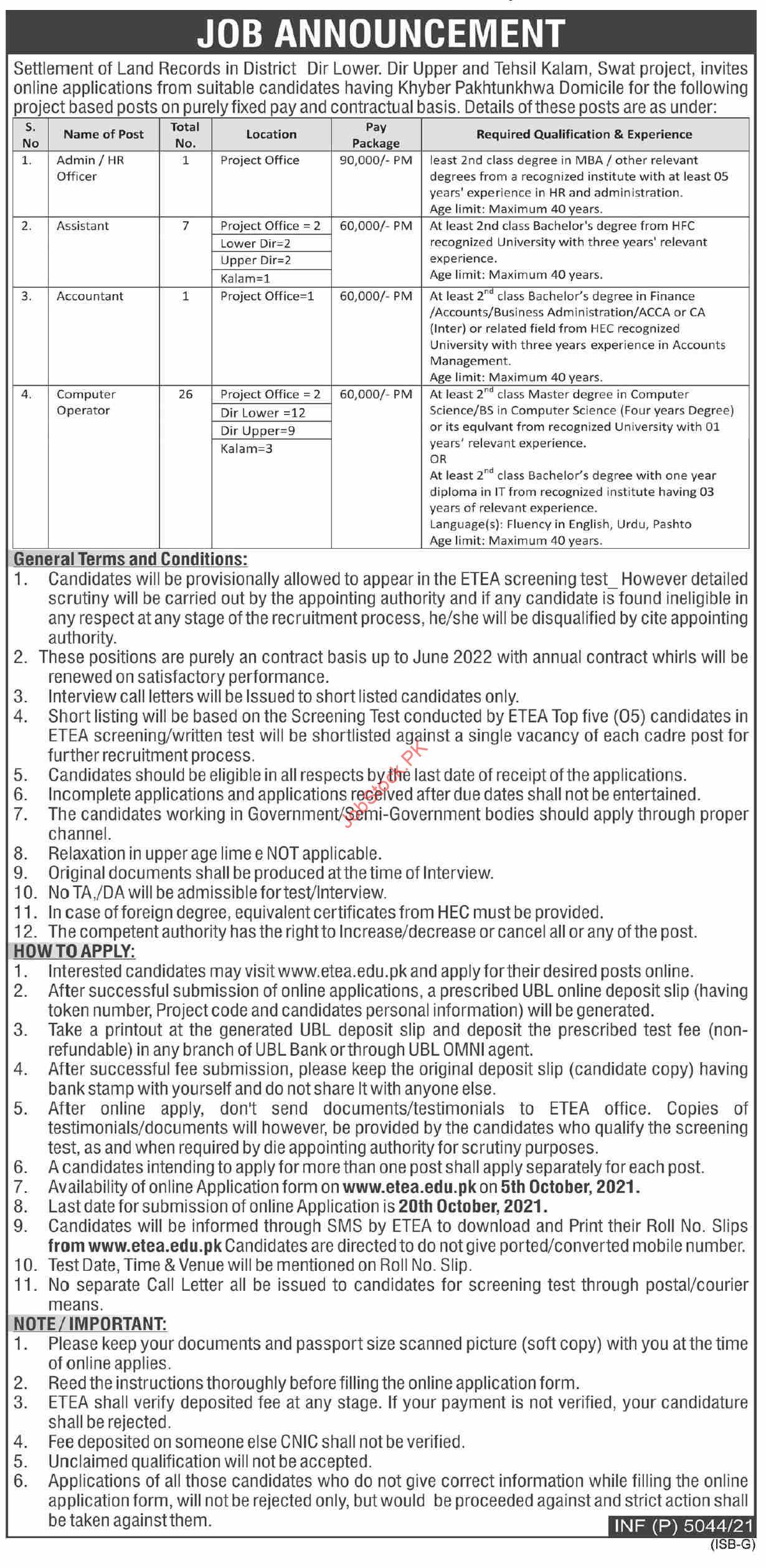 Revenue and Estate Department KPK jobs 2021