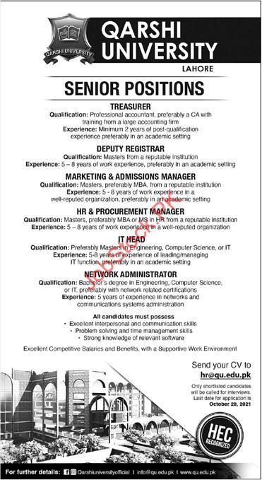 Senior Position in Qarshi University Lahore Jobs 2021