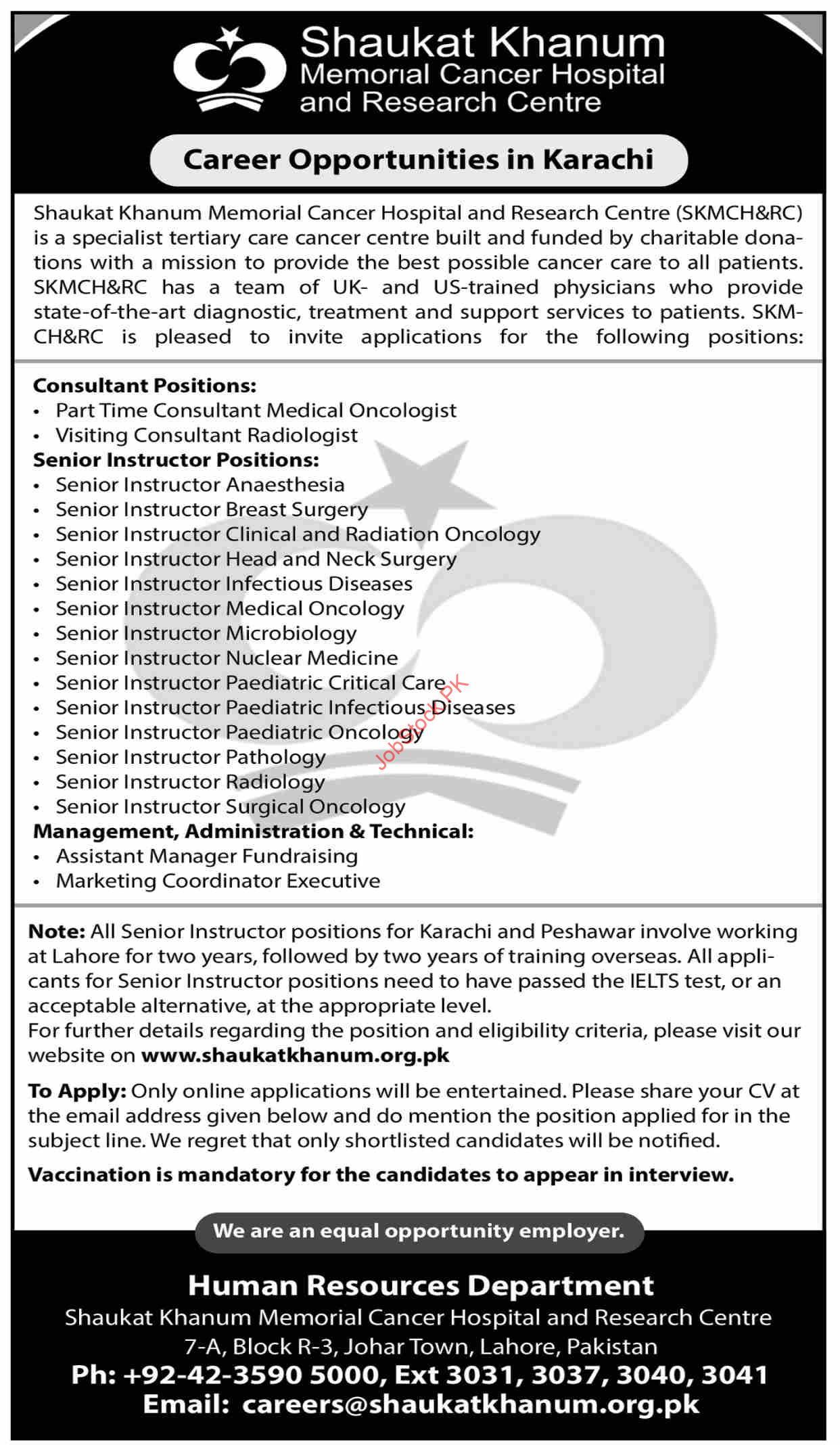 Shaukat Khanum Cancer Hospital Jobs 2021