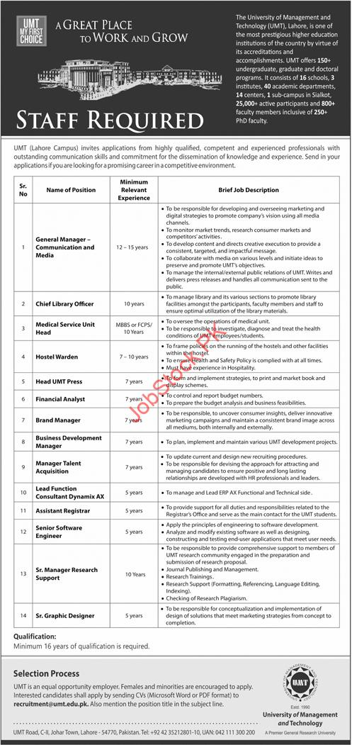 UMT Jobs 2021 Advertisement University of Management and Technology
