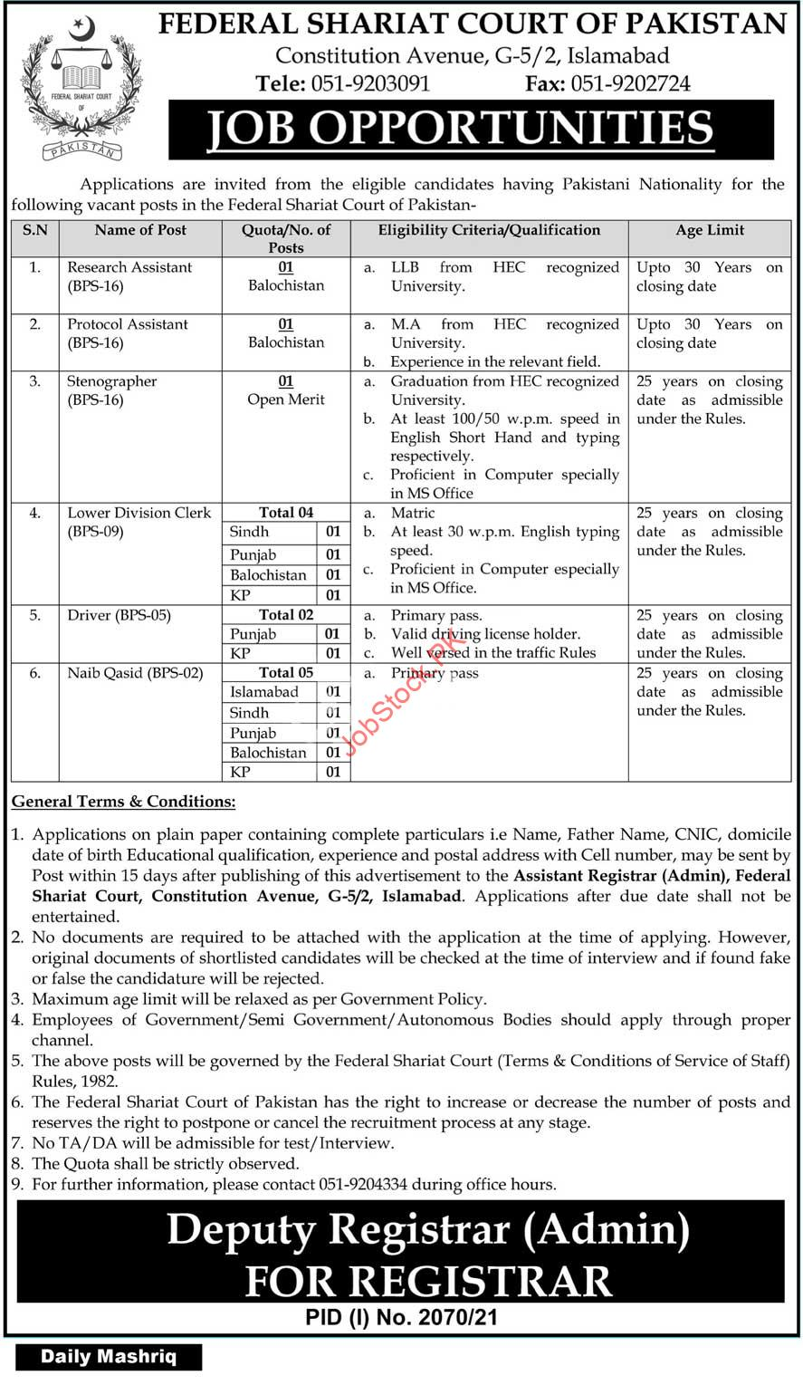 jobs in federal shariat court 2021